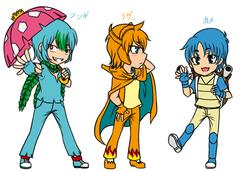 Gijinka : Kanto Starters's Character Design