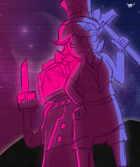 Miss G and SD-01 in Synthwave style