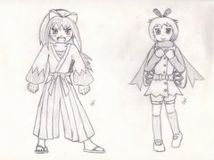 Gijinka - Sakura the Mawile & Angelina the Ribombee